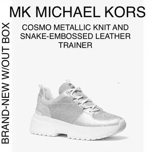 NEW $155 MICHAEL KORS COSMO SILVER TRAINER SNEAKER